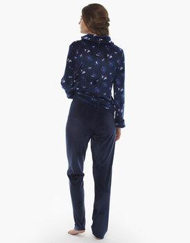 Homewear manica e gamba lunga blu stampato, in ciniglia, aperto con zip , , LOVABLE