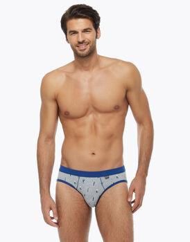 Slip casual in cotone stretch, colore grigio con stampe blu, , LOVABLE
