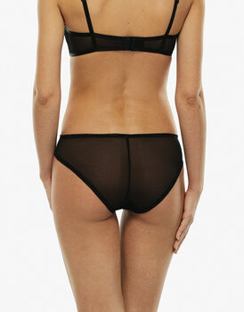 Slip nero in tulle ricamato-LOVABLE