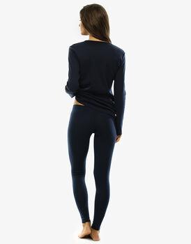 Pigiama manica e gamba lunga in interlock di cotone, blu-LOVABLE