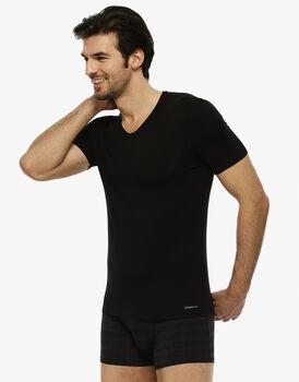 T-shirt uomo con scollo a v in micromodal, nera, , LOVABLE