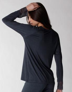 Maglia a manica lunga del pigiama in viscosa elasticizzata, blu, , LOVABLE