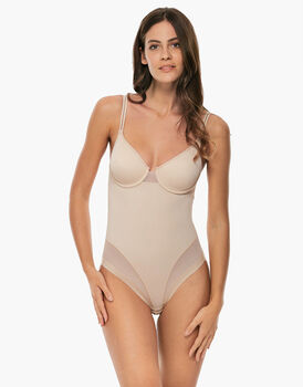 Body con ferretto Millennium Equilibre, skin, in microfibra e tulle. Contenitività leggera-LOVABLE