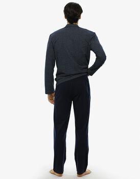 Pigiama manica e gamba lunga blu notte stampato in jersey-LOVABLE