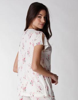 Maglia del pigiama a manica corta in viscosa, stampa floreale, , LOVABLE