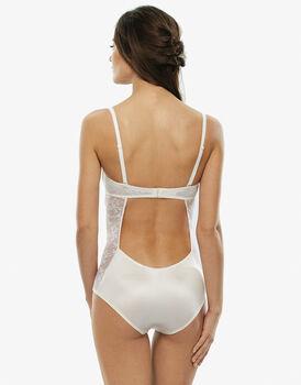 Body strapless, avorio, in pizzo elastico e microfibra effetto satin, , LOVABLE