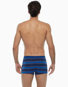 Boxer blu royal rigato in cotone fiammato-LOVABLE