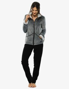 Homewear nero in pelliccetta e pile, aperto-LOVABLE