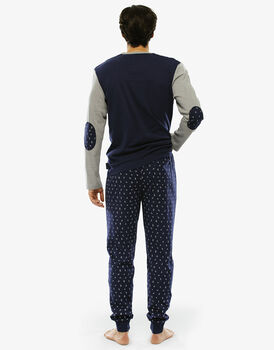 Pigiama manica e gamba lunga blu navy stampato in interlock-LOVABLE