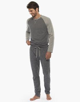 Pigiama manica e gamba lunga, mix grigio melange, in jersey , , LOVABLE