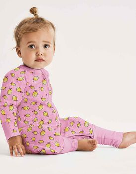 Tutina lunga con zip in cotone elasticizzato, colore rosa con limoni, , LOVABLE