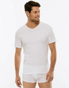 T-shirt 100% Pure Cotton bianco in cotone con scollo a V-LOVABLE