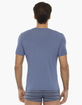 Maglia manica corta blu polvere in cotone modal con scollo a V , , LOVABLE