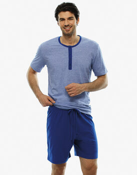 Pigiama manica e gamba corta righe blu royal in jersey fil a fil-LOVABLE