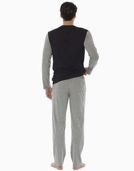 Pigiama manica e gamba lunga nero stampato in jersey di cotone , , LOVABLE