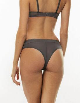 Brasiliano Perfect Lace grigio in pizzo elastico e microfibra-LOVABLE