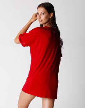 Maxi t-shirt in viscosa fiammata, rosso, , LOVABLE