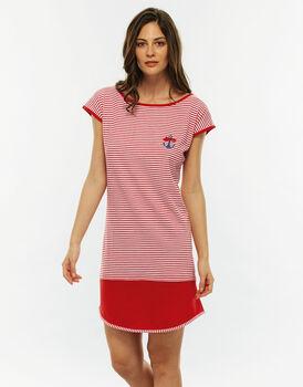 Camicia da notte manica corta, stampa a righe, in jersey di cotone tinto filo-LOVABLE