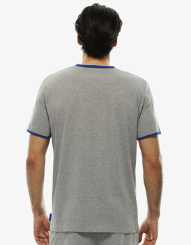 T-shirt girocollo grigio melange stampato in jersey-LOVABLE