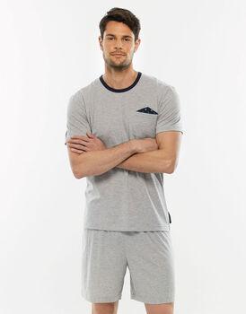 Pigiama manica e gamba corta grigio melange in jersey di cotone con taschina sulla casacca-LOVABLE