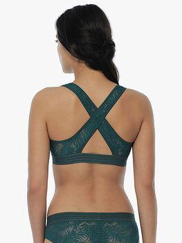 Bralette senza imbottitura e senza ferretto, verde, in pizzo elastico con spalline incrociate sul retro-LOVABLE