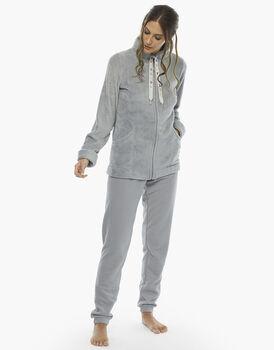 Homewear manica e gamba lunga grigio, in pelliccetta, pantalone in pille con polsino, , LOVABLE