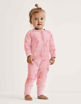 Tutina lunga per neonato con zip in ciniglia elasticizzata, rosa stampa giraffe, , LOVABLE