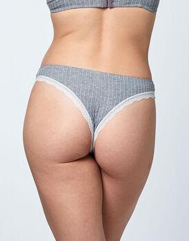 Brasiliano in cotone elasticizzato, grigio, , LOVABLE