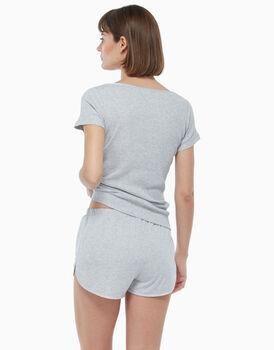 Pigiama chiuso in jersey di cotone, grigio chiaro, , LOVABLE