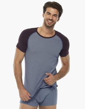 T-shirt grigio chiaro, in cotone elasticizzato, con girocollo in contrasto colore  , , LOVABLE