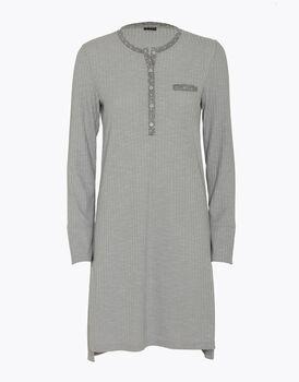 Camicia da notte in costa di viscosa, grigio melange, , LOVABLE