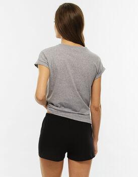 Pigiama manica e gamba corta grigio melange in jersey di cotone , , LOVABLE