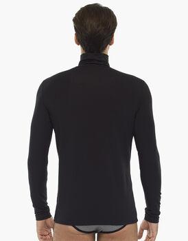 Maglia manica lunga, collo alto, nero, in cotone modal , , LOVABLE