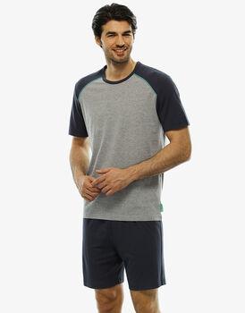 Pigiama manica e gamba corta grigio melange in jersey-LOVABLE