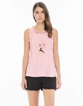 Pigiama smanicato gamba corta rosa in jersey di cotone con finiture volant-LOVABLE