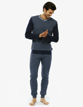 Pigiama manica e gamba lunga, grigio acciaio, in interlock con taschino sul retro pantalone-LOVABLE