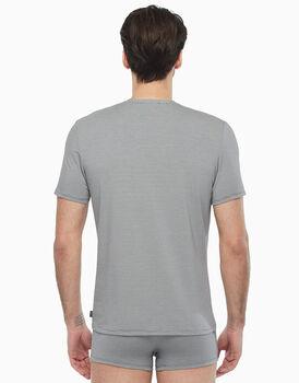 T-shirt in cotone supima, grigio rigato, , LOVABLE