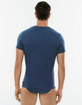 T-Shirt girocollo manica corta Slub Cotton blu in cotone fiammato-LOVABLE