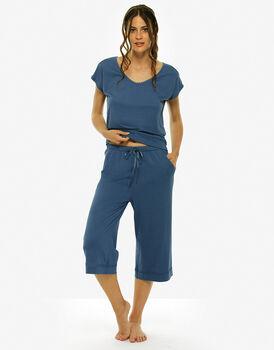 Pigiama manica corta pinocchietto, blue jeans, in cotone modal-LOVABLE