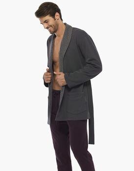 Homejacket, grigio scuro, in felpa doppia spazzolatura, , LOVABLE