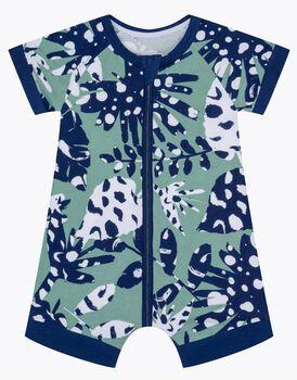 Pagliaccetto in cotone elasticizzato, stampa tropicale verde e blu, , LOVABLE