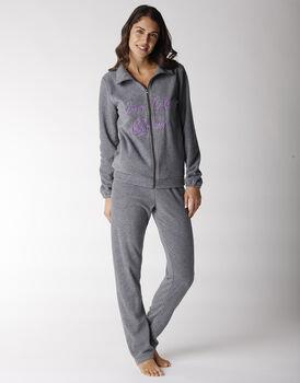 Homewear donna lungo in pile, grigio melange scuro, , LOVABLE