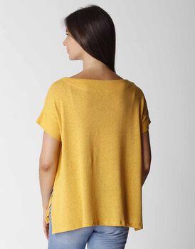 T-shirt manica corta in cotone e lino, ocra, , LOVABLE