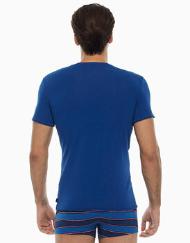 T-shirt manica corta collo rotondo, blu royal, in cotone fiammato-LOVABLE
