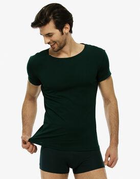 Maglia manica corta girocollo verde cappero in cotone elasticizzato-LOVABLE