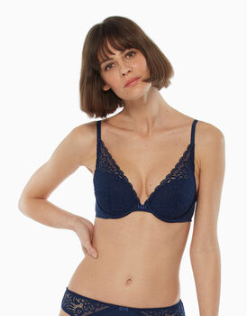Reggiseno push up vela, blu, in pizzo e microfibra, , LOVABLE