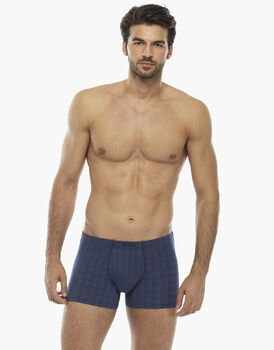 Boxer scacchiera blu in micromodal, , LOVABLE