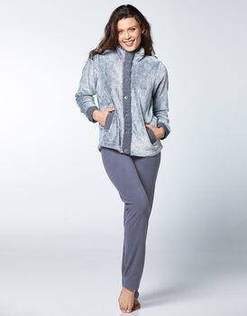 Homewear in pile e pelliccetta, grigio scuro, , LOVABLE