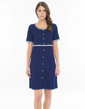 Camicia da notte aperta manica corta blu navy in jersey di cotone con profili stampati-LOVABLE