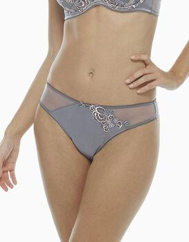 Brasiliano grigio scuro, in tulle ricamato, raso elasticizzato e tulle elasticizzato, , LOVABLE